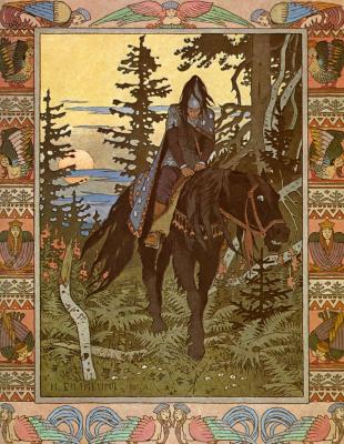 """Ivan Yakovlevich Bilibin. The black rider. Illustration to the fairy tale """"Vasilisa the Beautiful"""""""