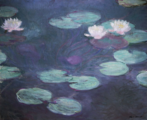 Claude Monet. Water lilies in pink
