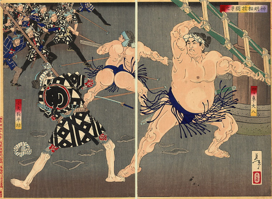 Tsukioka Yoshitoshi. Diptych: the Story of a confrontation between firemen and sumo wrestlers