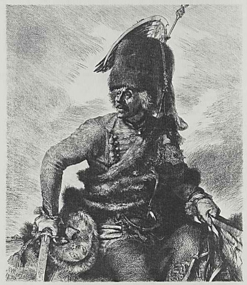 "Adolf Friedrich Erdmann von Menzel. A series of ""From the time of king Frederick. Heroes of war and peace"", Hans Joachim von Noisy, Prussian General of cavalry"
