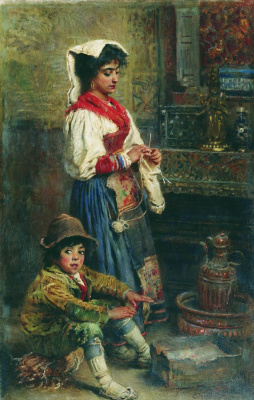 Konstantin Makovsky. Models waiting for the artist (Basking Italians)