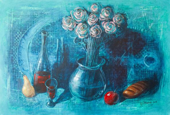 Alexey Ivanovich Kopalkin. Still life with wine and fruit