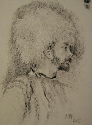 Николай Иванович Шестопалов. Мужчина в папахе. 1896
