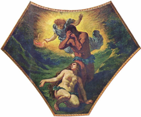 Eugene Delacroix. Palais Bourbon painting the sails, under the dome of Theology: Adam and eve