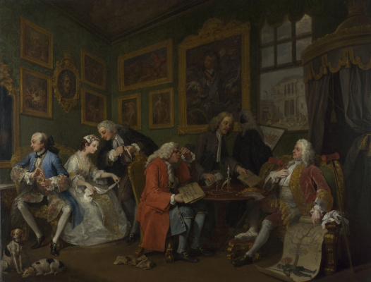 William Hogarth. A fashionable marriage. Part 1. Marriage contract