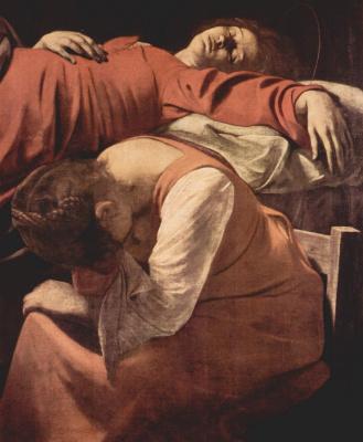 Michelangelo Merisi de Caravaggio. The Dormition Of The Theotokos. Fragment