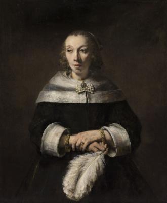 Рембрандт Харменс ван Рейн. Портрет дамы с веером из страусиных перьев