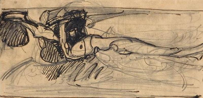 Mikhail Vrubel. A sketch for the painting 'The Demon Downcast'