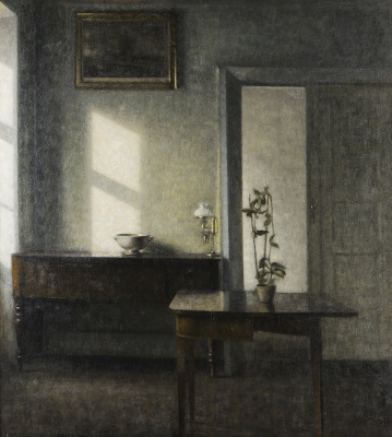Vilhelm Hammershøi. Interior with a flower pot on the card table. Bridged, 25