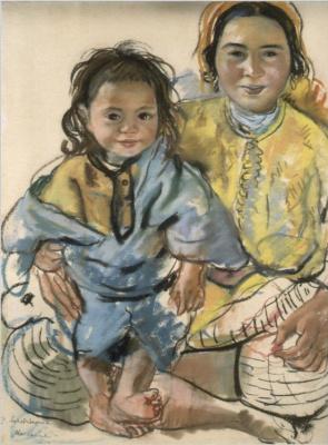 Zinaida Serebryakova. A Moroccan woman in yellow with a child