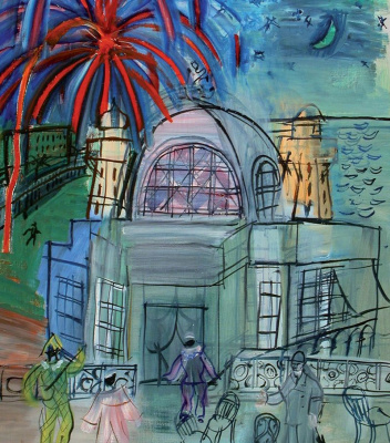 Raoul Dufy. Fireworks in nice, the promenade near the casino de La Jetée in nice