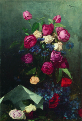Konstantin Makovsky. Still life with roses and cornflowers