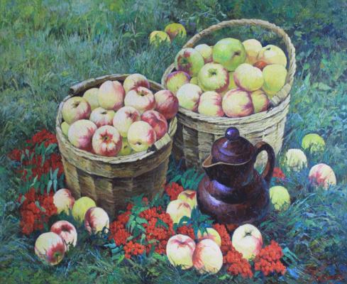 Виктор Довбенко. Яблоки с рябиной. 2015