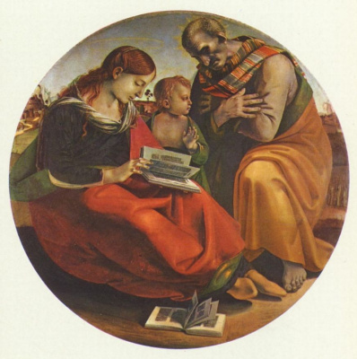 Luke Signorelli. The Holy family, Tondo