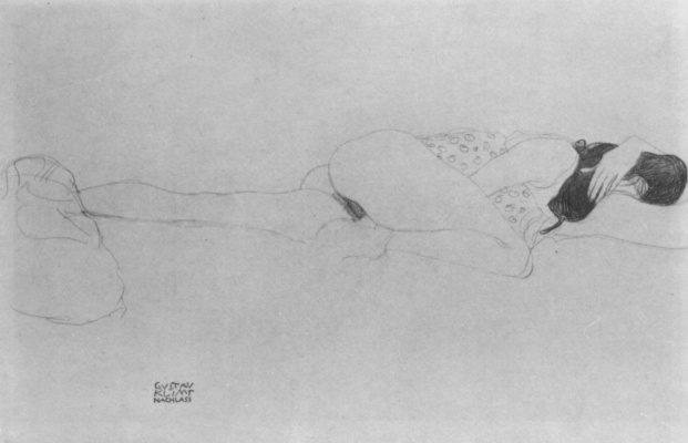 Gustav Klimt. Lying half-naked, with her head on a bent left arm
