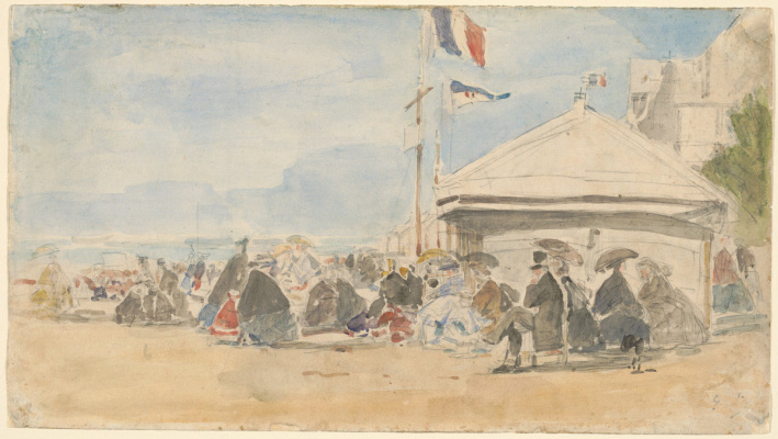 Eugene Boudin. Beach house with flags at Trouville