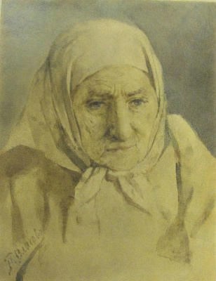 Pavel Alekseevich Vlasov. Head of an old woman (portrait of the artist's mother)