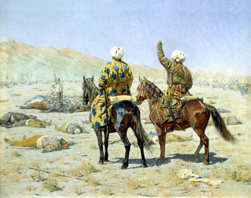 "Vasily Vasilyevich Vereshchagin. The envoys. ""Give up!"" - ""Go to hell!"""