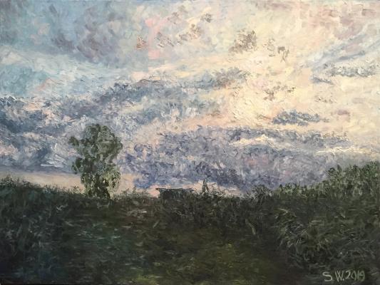 "Sophia Vinogradova. Painting ""Meditation"" (canvas oil palette knife sky field sunset summer sun clouds evening purple harmony pink meditation relaxation peace calm)"
