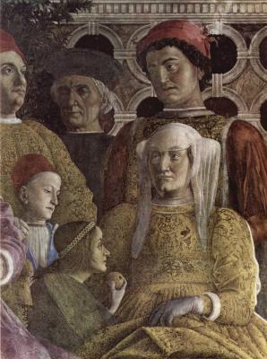 Andrea Mantegna. The court of Gonzaga, fragment: wife of the Duke of Barbara of Brandenburg, their children, Ludovico, Paula, Rodolfo and court. Camera