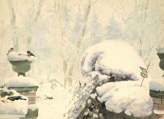 Птички на снегу