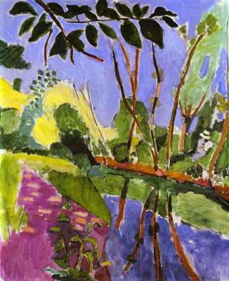 Анри Матисс. Пейзаж с озером и фигурами