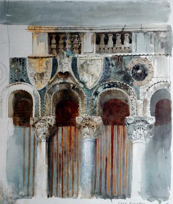 John Ruskin. Marble incrustation of the facade of Ka-Loredan, Venice