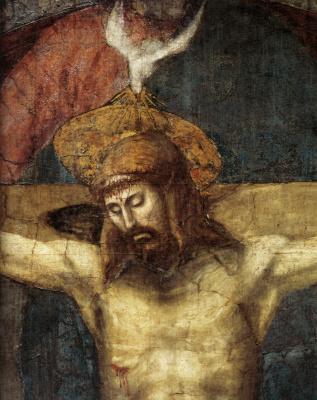 Tommaso Masaccio. The Holy Trinity. Fragment. Crucifix
