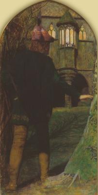 Arthur Hughes. Triptych: Eve of St. Agnes Day. Left panel