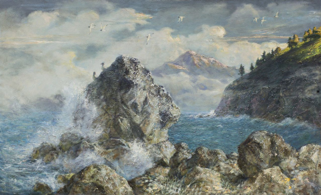 "Valery Petrovich Erofeevsky. ""Morning on Lake Baikal"", 2001-2012 ,, oil on canvas, 55x107"