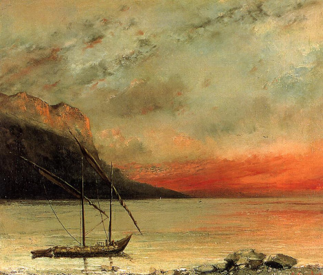 Gustave Courbet. Sunset over lake Leman (lake Geneva)