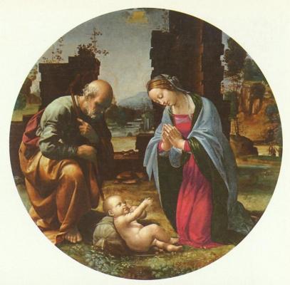 Поклонение младенцу, тондо