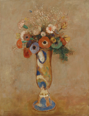 Odilon Redon. Wild flowers in a vase with a long neck