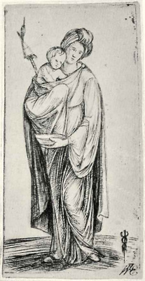 Jacopo de Barbary. A woman with a child and a spindle