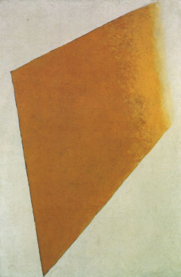 Kazimir Malevich. Suprematism: yellow quadrilateral on white background