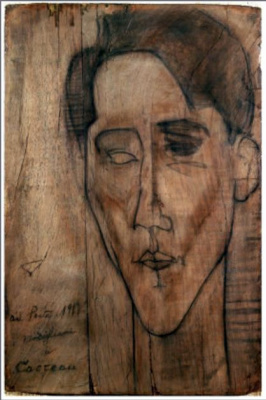 Amedeo Modigliani. Sketch to the portrait of Jean Cocteau
