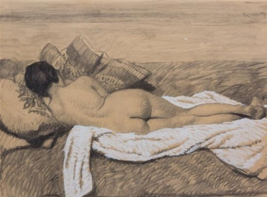 Theophile-Alexander Steinlen. Lying on a pillow naked, the sketch from the back
