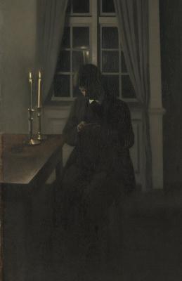 Вильгельм Хаммерсхёй. Коллекционер монет (Нумизмат, портрет брата художника). Фрагмент