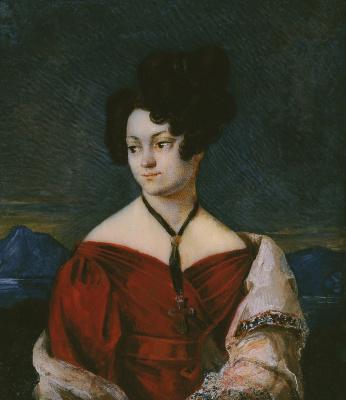 Raevskaya Ekaterina Nikolaevna. 1823 bone, watercolor, gouache
