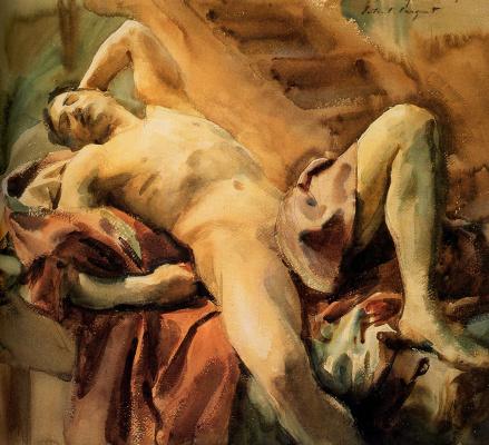 John Singer Sargent. Lying naked sitter Nicolo Deperno