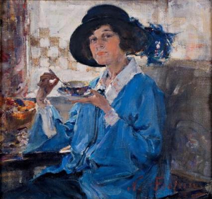 Nikolay Feshin. Tea in Santa Monica (Portrait of Mrs. Krag).