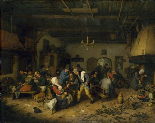 Adrian Jans van Ostade. Peasants in the tavern