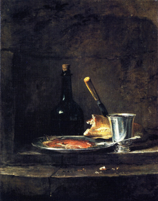 Jean Baptiste Simeon Chardin. Interrupted lunch. Still-life with silver Cup