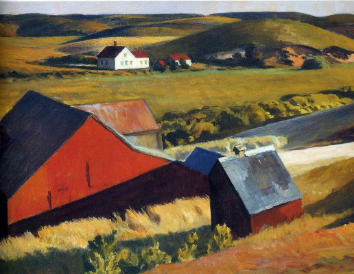 Edward Hopper. Cobb's barns and houses in the distance