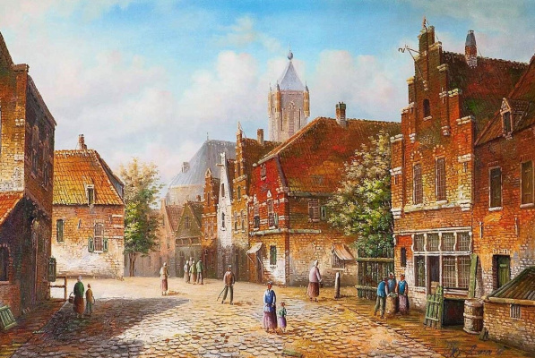 "Alexander Romm. Dutch landscape ""Old Dutch street. Imitating Willem Kukku. N7"""