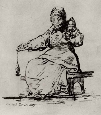 Francisco Goya. The old spinner