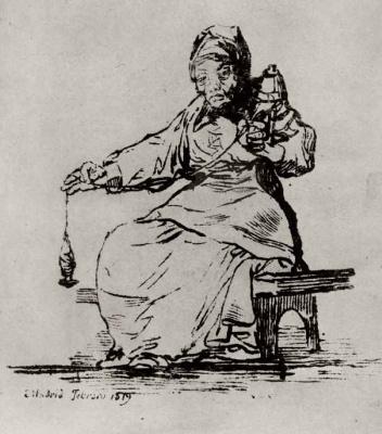 Francisco Goya. The old spinner