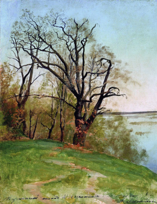 Isaac Levitan. Oak on the river Bank