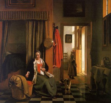 Pieter de Hooch. Mother at the cradle