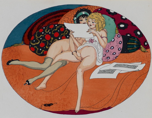"Gerda Wegener. Illustration for the erotic book ""Games of Eros"""